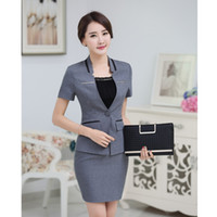 Wholesale Summer Ladies Business Suits - Wholesale-New 2016 Summer Female Gray Blazer Women Suits with Skirt and Top Jacket Sets Fashion Office Ladies Business Suits OL Style