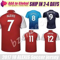 Wholesale Fc Soccer Jersey - Alexis jersey 2017 18 FC ARS Adult Black OZIL WILSHERE RAMSEY GIROUD LACAZETTE Soccer Jersey 17 18 Alexis Sanchez football jerseys