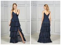 2018 Brautjungfer Kleider Jasmin Prom Kleider Brautjungfern Kleider Marine Chiffon Spaghetti Side Split Falten Tiers geraffte Backless Custom Made