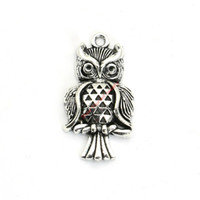 Wholesale craft owls - 12pcs Antique Silver Plated Owl Charms Pendants for Bracelet Jewelry Making DIY Necklace Craft 30x17mm