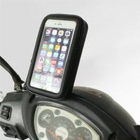 motorradhalterung iphone fall großhandel-Universal Motorrad Rückspiegel Halterung Halter Reißverschluss Wasserdichte Smartphone Tasche für Iphone 6 Plus