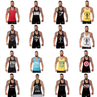 Wholesale Tank Tops Styles For Men - 2016 New Hot 12 Styles GYM Shark Tank Tops For Men Bodybuilding Fitness Stringer Sports Vest Shirts Mens Muscle Tanks Cotton Tops