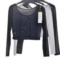 Wholesale Transparent Shorts Girls - Wholesale- Women Sexy Slim Semi-transparent Mesh Crop Tops Girl Long Sleeve Short T-Shirts Tees Single Layer Mesh