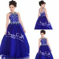 Wholesale Dressy Dress Size 12 - Pretty Blue Tulle Halter Beads Flower Girl Dresses Girls' Pageant Dresses Dressy Dress Holidays Dress Custom Size HY1150