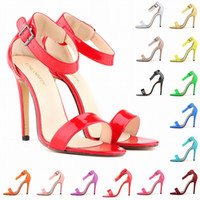 Wholesale Matt Leather - Grils Matt Leather High Heels Peep Toe Shoes Sandal Party Casual Ankle Strap Summer Open Toe Ankle Straps Sandals D0094