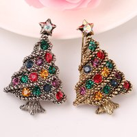 Wholesale Chritmas Tree - Alloy brooch pin red and green crystal brooch chritmas tree design Antique gold and antique silver christmas gift plating free shipping