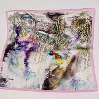 Wholesale Small Neck Scarfs - New fashion printing 100% mulberry silk satin scarves temperament lady neck scarf China small silk handkerchief 50 * 50cm