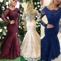 Wholesale Sweet Water Pearls - 2017 Mermaid Prom Dresses Scoop Neck Long Sleeves Full Lace Pearls Beaded Royal Blue Grape Sweet 16 Party Dresses Plus Size Evening Gowns
