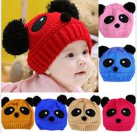 Wholesale kids panda hats for sale - Group buy Lovely Animal Panda Baby Hats knitted yarn Caps Kids Boy Girl Crochet Beanie Hats Winter Cap For Children To Keep Warm
