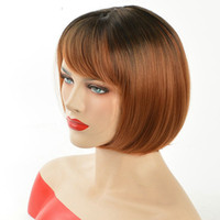 Straight 8 Under $30 Pixie Cut Ombre Red Bob Wigs For Black Women Short Straight Natural Synthetic Hair Wig With Bangs High Temperature Fiber