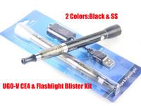 Wholesale Ego V Lead - Newest eGo UGO-V CE4 Vape Flashlight Blister Kit with LED eGo Lights 650mAh E Cigarette Battery