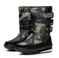 Wholesale Black Platform Winter Boots - 2016 winter warm men's thickening platforms waterproof shoes military desert male knee-high snow boots outdoor hunting botas,size38-47