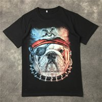 Wholesale T Shirt For Dog Xl - 2016 summer 3D Pirate dog print tshirt for men short sleeve cotton t shirts