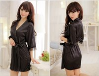 Wholesale Silk Robe String - 5 colors Wedding Party Gifts Sexy Lingerie Satin Sleepwear Silk Detail Robe and G-String Sexy Sleepwear Nightdress Satin Robe