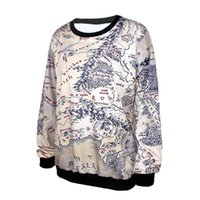 Wholesale Lord Rings Map - Fashion Lord of The Rings Hoodie Middle Earth Map Punk Women Sweatshirt 3D Floral Print Heart Breaker Printed Casual Hoodies