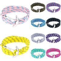 Wholesale Infinity Mens Bracelet - Womens Mens Fashion Anchor Bracelets Multilayers Infinity Wrap Rope Charm Fish Hook Paracord Wristband Jewelry Cuff Bangle Jewelry