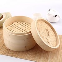 Wholesale Steaming Rack - Round Bamboo Steamer Vegetable Dumpling Bun Hand Made Steam Rack With Lid Healthy Cooking Tools Steamers High Quality 5gf B