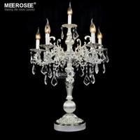 Wholesale Crystal Table Lamp Vintage - Vintage Silver color Table light Luxurious Clear crystal desk lamp with Wedding Candelabra for Hotel Restaurant Bedroom lighting