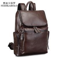 Wholesale Shoulder Bagpack - 2017 Brand Designer Men Leather Backpack Men's School Backpack Bag Bagpack Mochila Feminina Black brown Travel Bag Shoulder bag