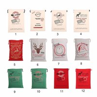 Wholesale Wholesale Gifts Bags - 2017 Christmas Gift Bags Large Organic Heavy Canvas Bag Santa Sack Drawstring Bag With Reindeers Santa Claus Sack Bags for kids
