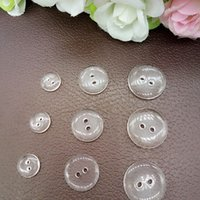 Wholesale Sewing Notions Free Shipping - 100PCS 10 15 18MM transparent 2 holes shirt sewing accessories apparel notions diy free shipping B077