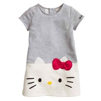 Wholesale Hello Kitties Clothes - Hello Kitty Baby Girls Dresses Kids Clothes 2016 Children Dress For Girls Clothes Princess Dress Christmas Vetement Fille