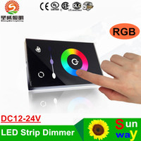 interruptor dimmer de 12 dc al por mayor-2016 nuevo llega Touch Dimmer Controlador de interruptor de pared DC 12-24V montado en la pared-a todo color 24V 12V llevó regulador para 3528 5050 RGB LED