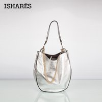 Wholesale Sliver Clutches - Wholesale-ISHARES Sliver Gold Black Ladies Handbags First Layer Genuine Cowhide Litchi Stria Casual Tote Chain Zipper Shouder Bags IS8043