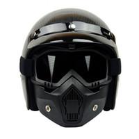 Wholesale Ghost Helmets - Hot sale detachable motorcycle half face helmet mask anti dust ski snow mask winter windproof helmets ghost masks scooter retro mask