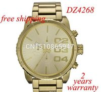 Wholesale Dz Watch Box - Free Shipping DZ4268 Mens Quartz Watch Gold Dial Gold Steel Band CHRONOGRAPH Original Box DZ 4268 DZ4207 DZ4209 DZ4215 DZ4219