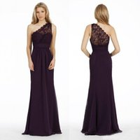 Wholesale Eggplant Long Bridesmaid Dresses - Eggplant Chiffon One Shoulder Mermaid Bridesmaid Dresses 2016 Cheap Lace Ruched Floor Length Maid Of Honor Gowns Custom Made EN9302
