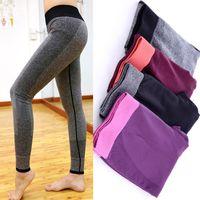 Wholesale thin tight spandex - Wholesale-Women Fashion Tight Sportwear Nice Leggings High Elastic Thin Sports Yoga Pants Fitness Running Long Trousers Legging