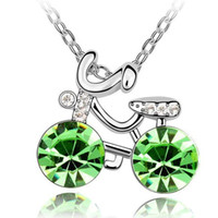 Wholesale 18krgp Gold - Personalized Cycling Crystal Pendants Necklace Fashion 18KRGP Jewelry Crystal from Swarovski Crystal Necklace Female Gift