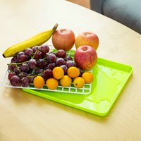 Wholesale Drain Dish Rack - Creative Drain Tray Hollow Fruit Vegetable Dish Tray Drain Plate Storage Rack Shelving Draining Board kitchen accessories