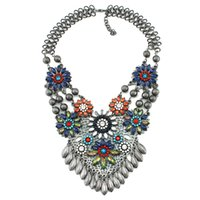 Wholesale Vintage Strand Gold Necklace - 2015 Bib Vintage Necklace Woman Metal Maxi High Quality crystal flower Charms Statement Necklaces & Pendants Jewelry wholesale