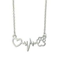 Gold-Color Silver Couleur Link Chain Heart Electrocardiogramme Cat Claw Shape Chain Necklace Pour Femmes Accessoires