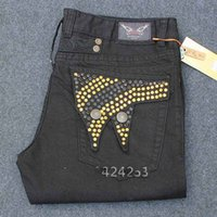 keychain das calças de brim venda por atacado-Novos homens denim rasgado famosa marca robins jeans homens grande tamanho dos homens biker robin jeans com chaveiro faísca pedra masculina