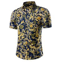 Wholesale Short Sleeved Mens Shirts - Men's shirts Men's 2016 Slim social camisa clothing cotton short-sleeved T-shirt Summer Beach Floral Mens dress shirt camisa M~5XL