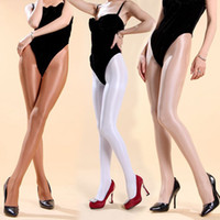 Wholesale shiny pantyhose sexy resale online - 70D Pantyhose Super shiny Stockings sleek front crotch pantyhose sexy women transparent velvet solid tights one size
