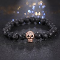 Wholesale Stainless Steel Skull Beads - 2016 Fashion Silver Gold Color Micro Pave Zircon Skull Charm Men 'S Bangles Hand Pendant Brand Lava Stone Beads Bracelet Jewelry