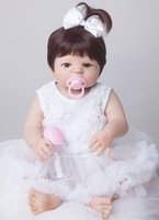 Wholesale new silicone babies dolls resale online - 55cm New Full Body Silicone Reborn Baby Doll Toys Newborn Girl Baby Doll Christmas Gift Birthday Gift Bathe Toy Girls Brinquedos