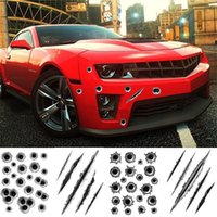 Car Styling 3D Balle Trou Voiture Autocollant Simulation Scratch Decal Autocollants Imperméables Pour Automobiles / Moto Faux Bullet Trous Drôle Decal