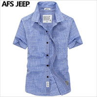 Wholesale Oxford Blue Color - 2016 new fashion short-sleeved shirt men AFS JEEP summer Battlefield Jeep casual oxford shirt solid color big yards youth 55