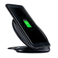 mini pad china оптовых-S7 QI беспроводное быстрое зарядное устройство Pad Mini charging черный Samsung Galaxy S6 S6 Edge s7 s7 Edge с розничной упаковке беспроводное быстрое зарядное устройство