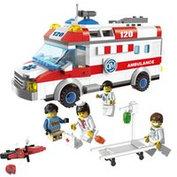 Wholesale Plastic Toy Ambulance - Ambulance Nurse Doctor First Aid Stretcher Bricks Toys figures Building Block sets Toys