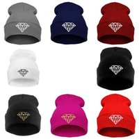 Wholesale Diamond Beanies Winter Cap - Wholesale 2016 new fashion diamond knit cap hip-hop hat men and women hedging wool cap autumn and winter warm designer hat MZ-10