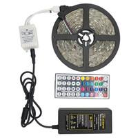 Wholesale diode led kit - SMD 5050 LED Strip Light Kits 5M 30led m DC 12V Flexible Ribbon Diode Tape RGB Light + 24 44 Key Controller+12V 3A