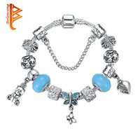 Wholesale Crystal Teddy Bear Pendant - BELAWANG Authentic Jewelry 925 Silver Crystal Heart Butterfly Teddy Bear Pendant Charm Bracelet Bangle with Blue Murano Glass Beads Jewelry