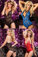 Wholesale Plus Size Sexy Sheer Lingerie - Wholesale-2016 Black Red Blue Sexy Sheer Lace Deep V Neck Bodysuits Erotic Baby Dolls Temptation Teddy Lingerie Plus Size L XL XXL 3XL 4XL