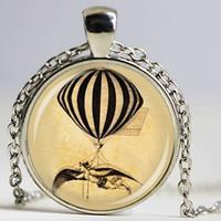 Wholesale Hot Air Balloon Necklaces - HOT air ballon necklace steam punk jewelry vintage hot air balloon art pendant